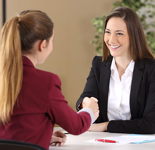 Young lady successful job interview