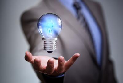 Man holding bulb